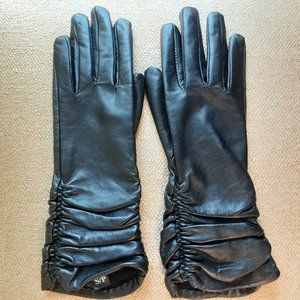 JOBIS Long Black Leather Gloves | Size Small